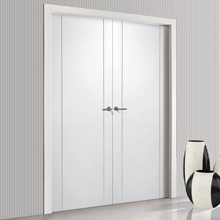 Image: Forli White Flush Door Pair - Aluminium Inlay - Prefinished