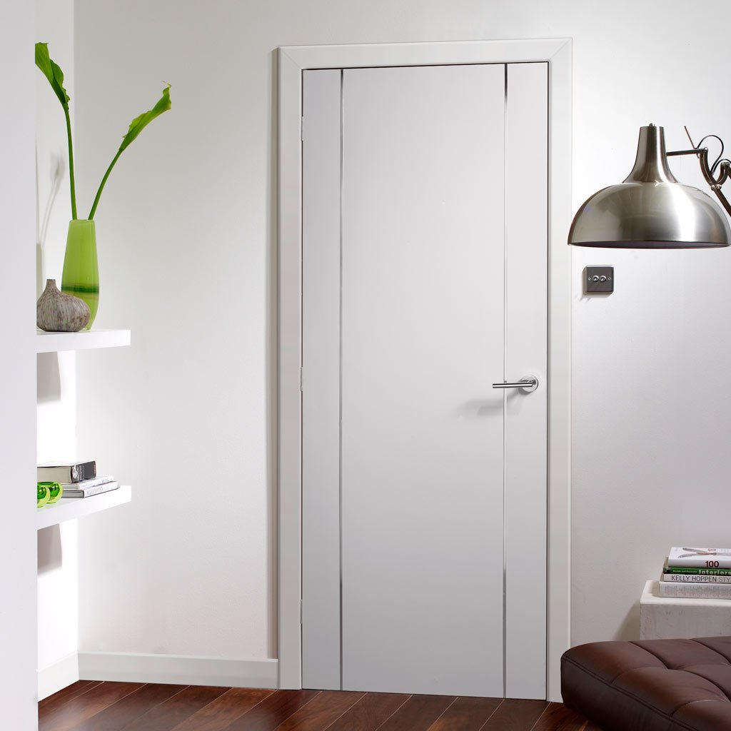 Forli White Flush Door - Aluminium Inlay - Prefinished - From Xl Joinery