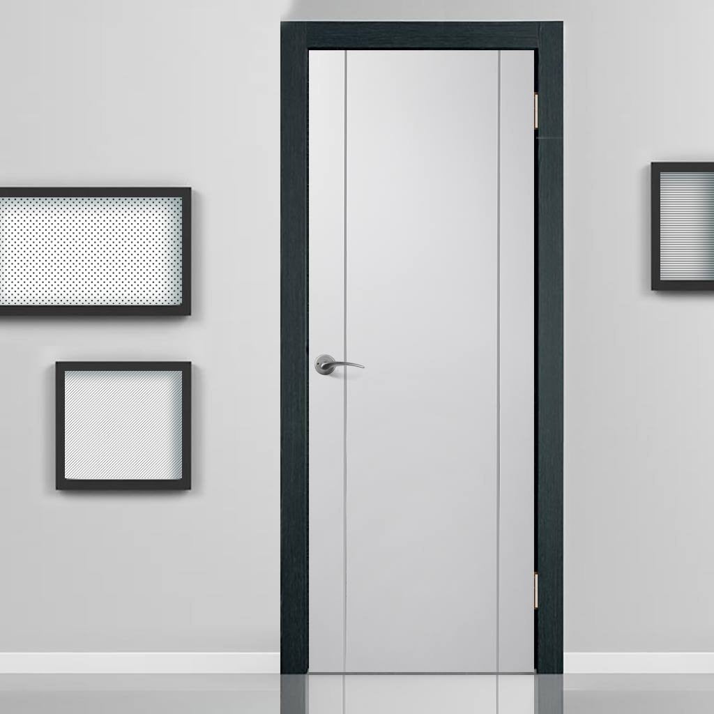 Fire Rated Forli White Flush Door - Aluminium Inlay - Prefinished
