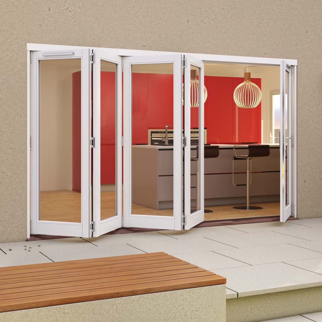 Jeld-Wen Darwin White Painted Hardwood Fold and Slide Patio Doorset, WDAR364L1R, 4 Left - 1 Right, 3594mm Wide