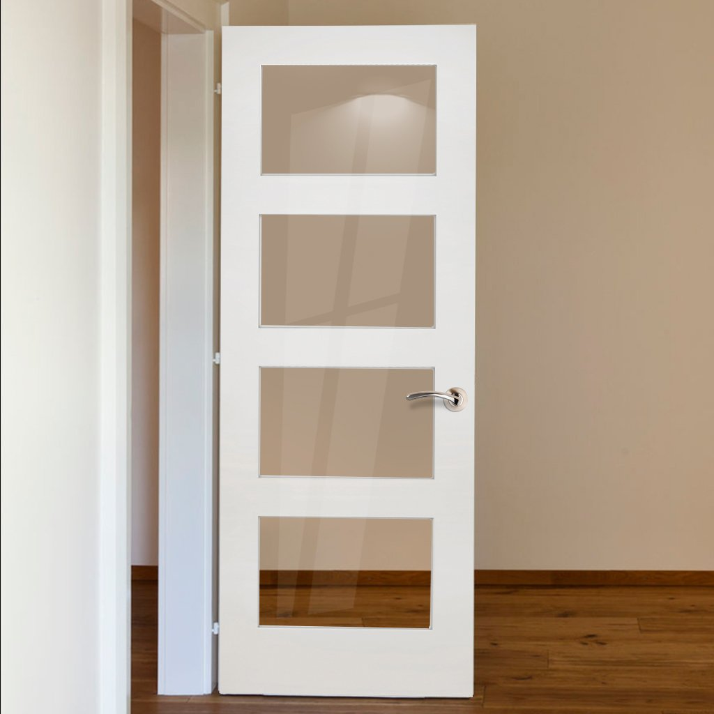Coventry White Primed Shaker Door - Clear Glass