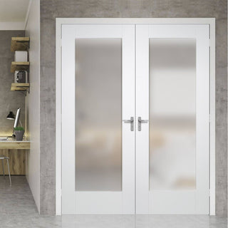 Image: Pattern 10 Full Pane White Primed Door Pair - Obscure Glass