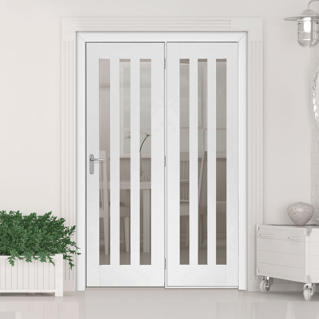ThruEasi Room Divider - Utah 3 Pane Clear Glass White Primed Door with Single Side - 2018mm High - Multiple Widths