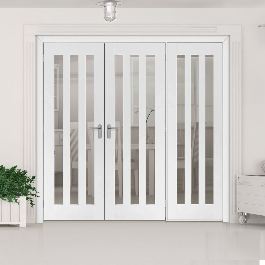ThruEasi Room Divider - Utah 3 Pane Clear Glass White Primed Double Doors with Single Side - 2018mm High - Multiple Widths