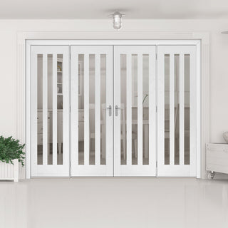 Image: ThruEasi Room Divider - Utah 3 Pane Clear Glass White Primed Double Doors with Double Sides - 2018mm High - Multiple Widths
