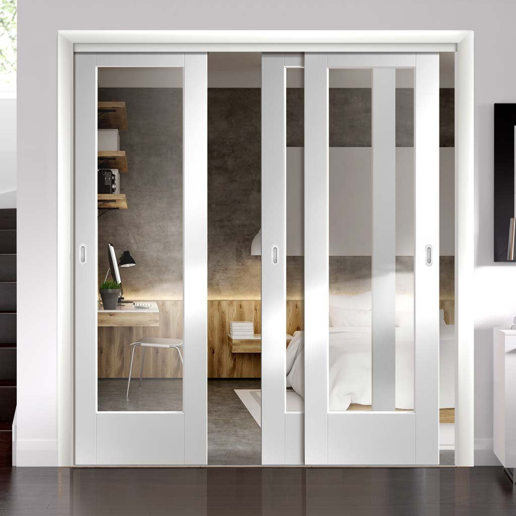 Three Sliding Doors and Frame Kit - Pattern 10 1 Pane Door - Clear Glass - White Primed