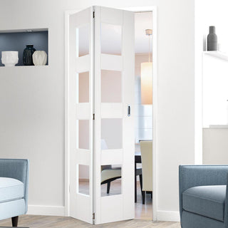 Image: Shaker 4L Glazed White Primed Bifold Door