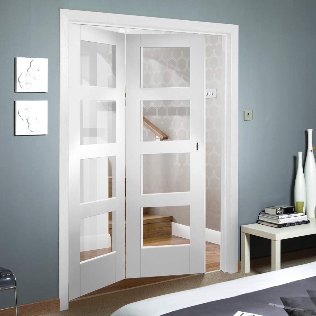 Bespoke Thrufold Shaker 4L White Primed Glazed Folding 2+0 Door