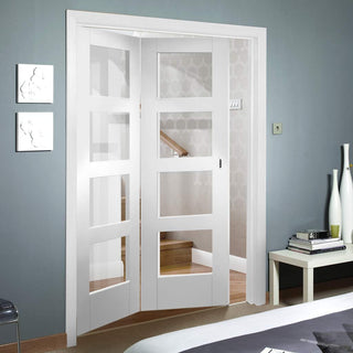 Image: Bespoke Thrufold Shaker 4L White Primed Glazed Folding 2+0 Door