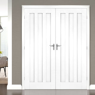 Image: Idaho Panel Door Pair - 1/2 Hour Fire Rated - White Primed