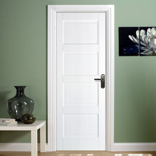 Image: Contemporary 4 Panel Door - White Primed