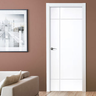 Image: J B Kind White Contemporary Lyric Primed Flush Fire Door - 1/2 Hour Fire Rated