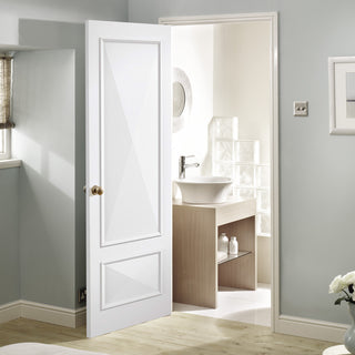 Image: knightsbridge 2 panel door raised mouldings white primed