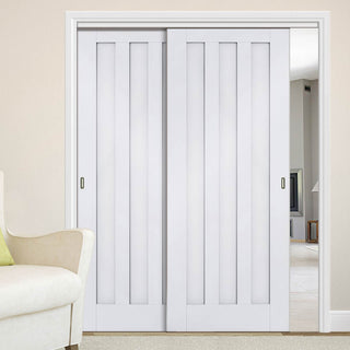Image: Two Sliding Doors and Frame Kit - Idaho 3 Panel Door - White Primed
