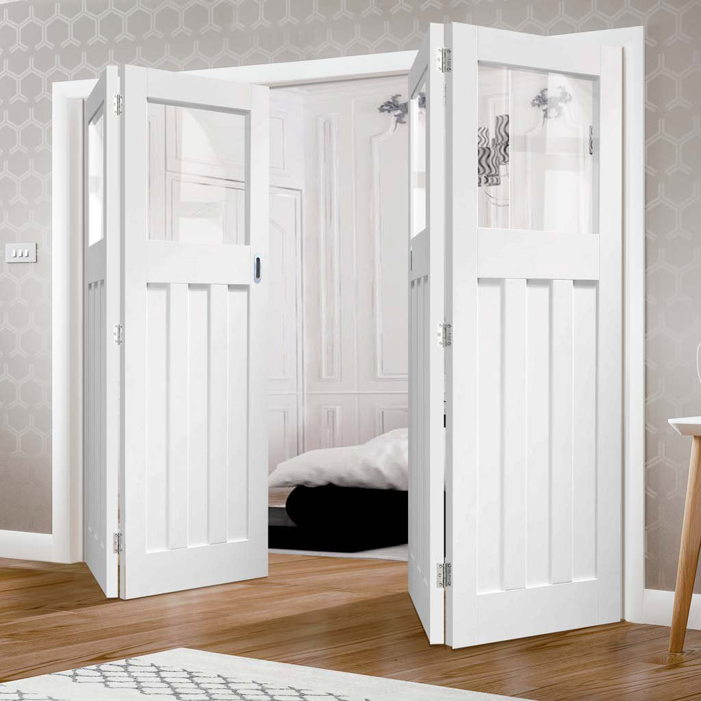 Bespoke Thrufold DX 1930's White Primed Glazed Folding 2+2 Door