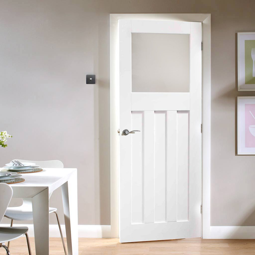 Door and Frame Kit - DX 1930's Door - Obscure Glass - White Primed
