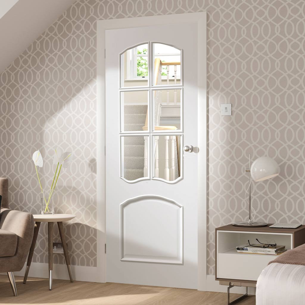 White interior door with elegant bevelled glass