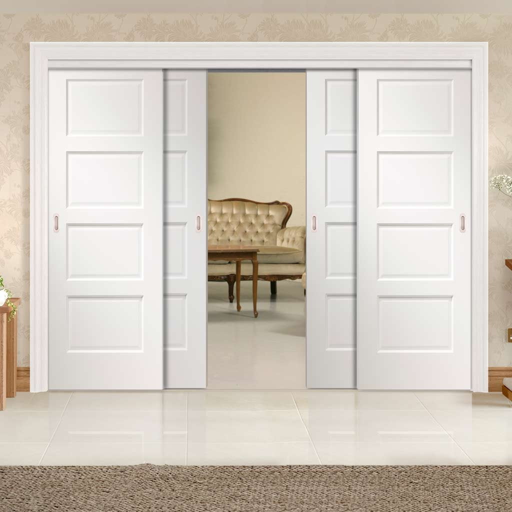 Four Sliding Doors and Frame Kit - Severo White Door - Prefinished