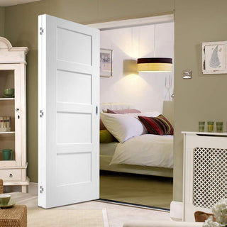 Image: Two Folding Doors & Frame Kit - Shaker 4P 2+0 - White Primed