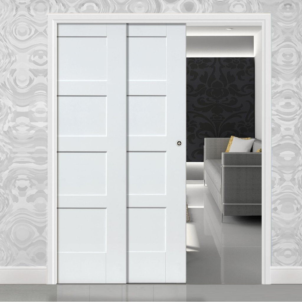 Shaker 4P Staffetta Twin Telescopic Pocket Doors - Primed