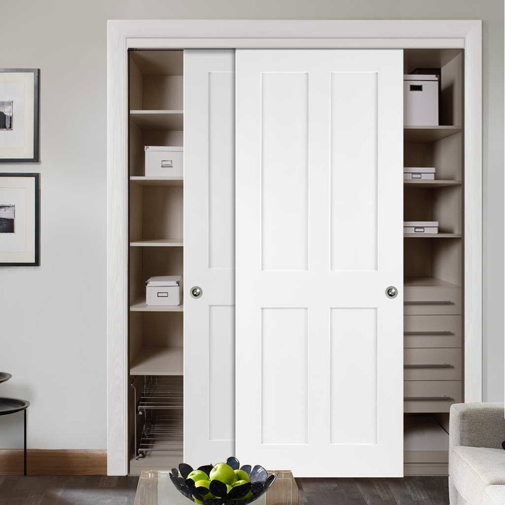 Minimalist Wardrobe Door & Frame Kit - Victorian Shaker 4 Panel Door - White Primed