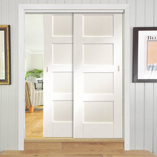 Image: Two Sliding Doors and Frame Kit - Shaker Door - White Primed
