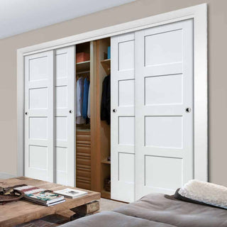 Image: Thruslide Shaker 4 Door Wardrobe and Frame Kit - White Primed