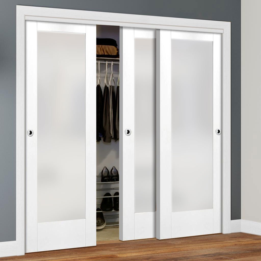 Minimalist Wardrobe Door & Frame Kit - Three Pattern 10 1 Pane Doors - Obscure Glass - White Primed