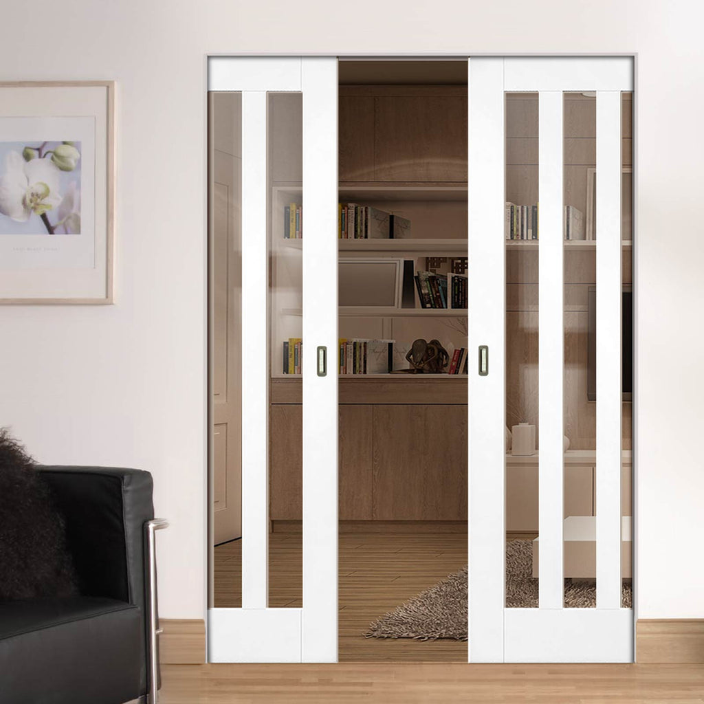 Utah White Primed Panel Absolute Evokit Double Pocket Doors - Clear Glass - White Primed