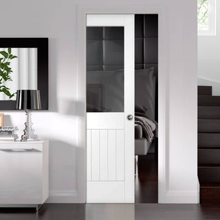 Image: Suffolk Single Evokit Pocket Door - Clear Glass - Primed