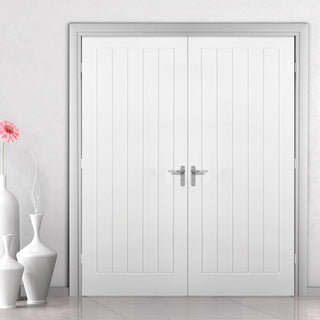 Image: Textured Vertical 5 Panel Door Pair - Primed