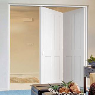 Image: Two Folding Doors & Frame Kit - Victorian Shaker 4 Panel 2+0 - White Primed