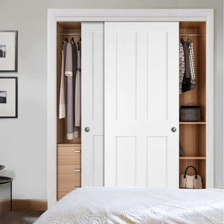 Image: Bespoke Thruslide Victorian Shaker 4P White Primed 2 Door Wardrobe and Frame Kit