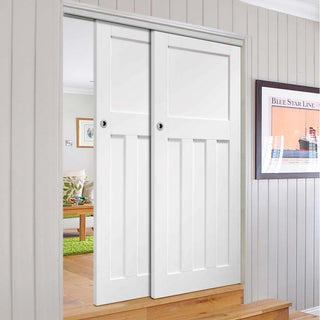 Image: Bespoke Thruslide DX 1930's White Primed - 2 Sliding Doors and Frame Kit