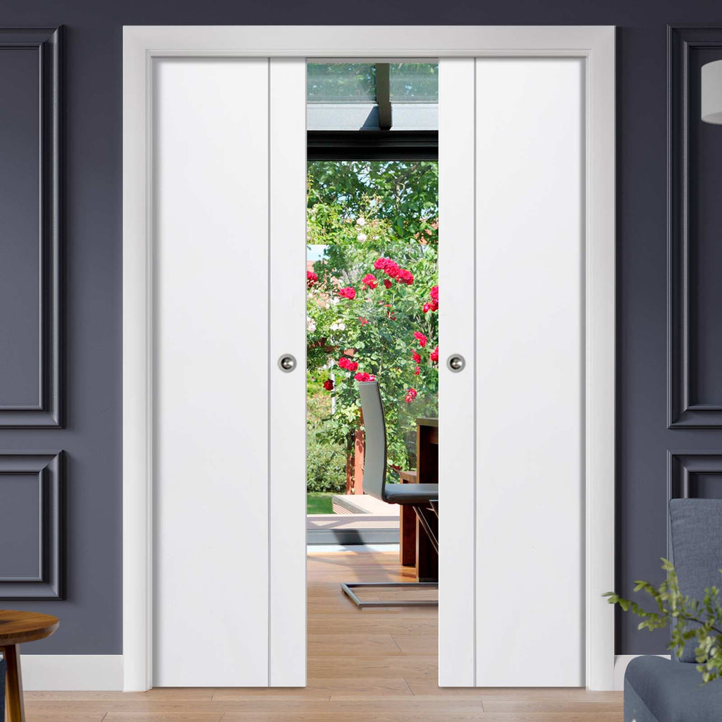 Forli White Flush Double Evokit Pocket Doors - Aluminium Inlay - Prefinished