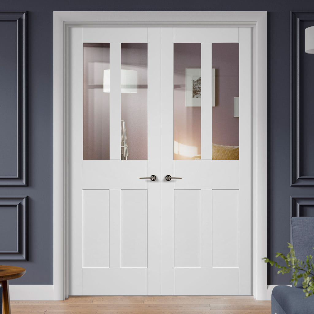 Malton Shaker Door Pair - Clear Glass - White Primed