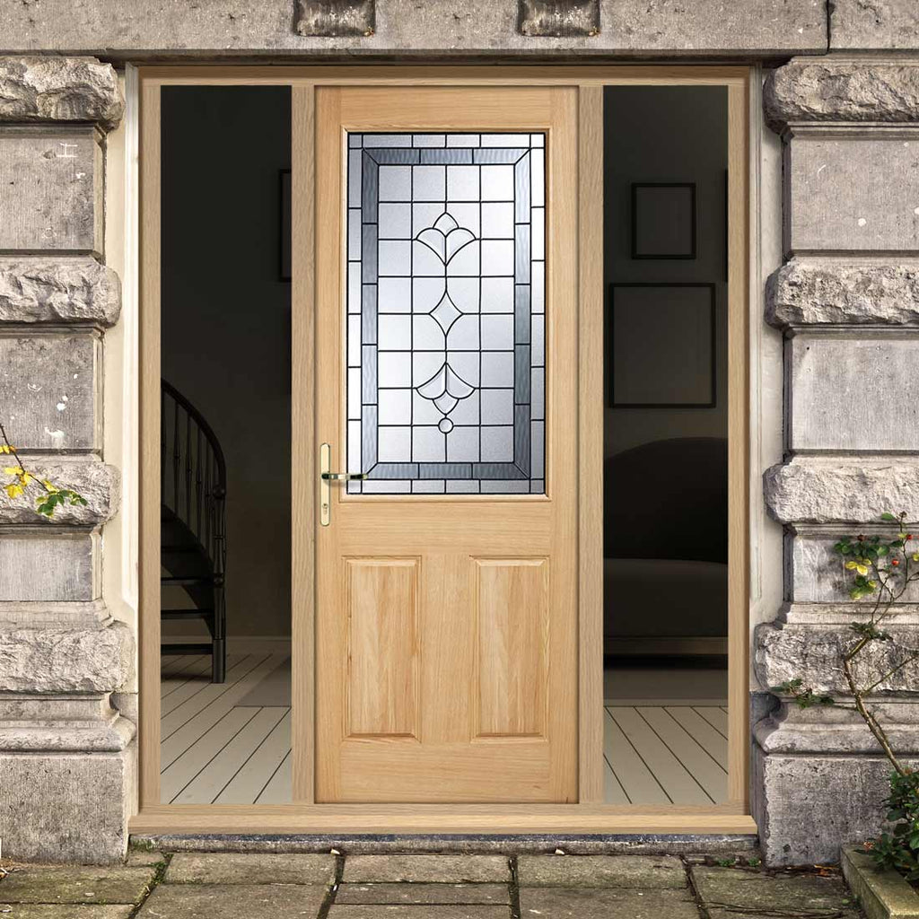 Part L Compliant Winchester Exterior Oak Door and Frame Set - Part Frosted Double Glazing - Two Unglazed Side Screens, From LPD Joinery