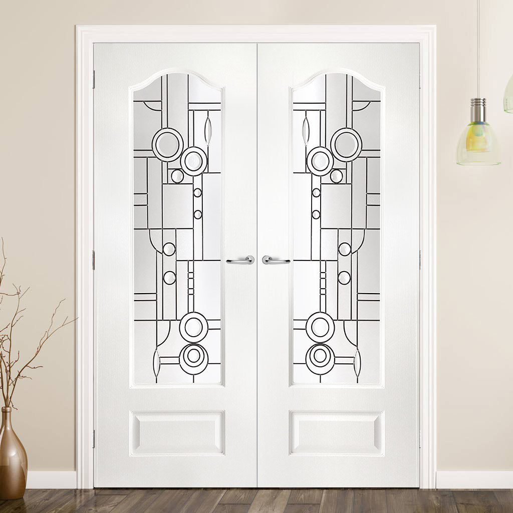 Windsor Lightly Grained PVC Door Pair - Callendar Abstract Style Clear Glass