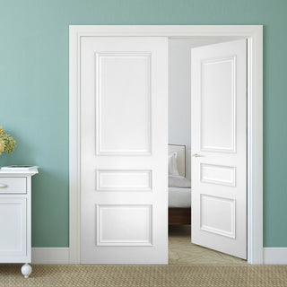 Image: Bespoke Windsor White Primed Panel Door Pair