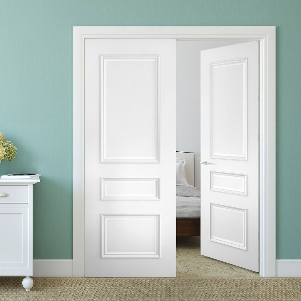 Windsor White Primed Panel Door Pair
