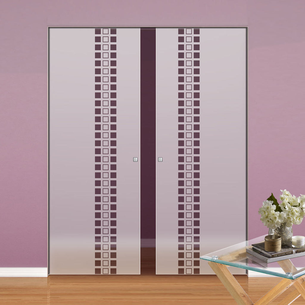Winton 8mm Obscure Glass - Clear Printed Design - Double Absolute Pocket Door