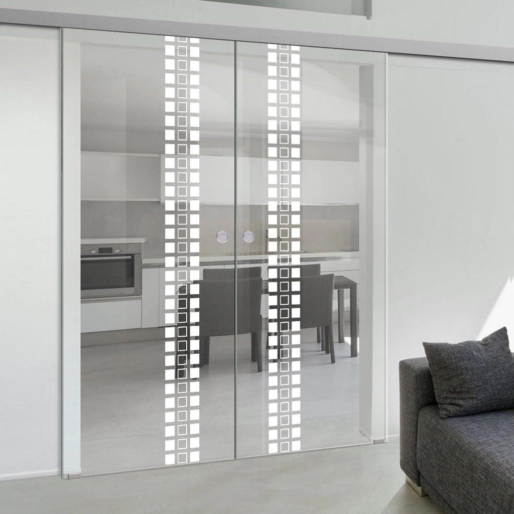 Double Glass Sliding Door - Winton 8mm Clear Glass - Obscure Printed Design - Planeo 60 Pro Kit