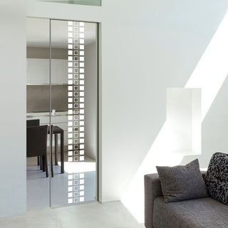 Image: Winton 8mm Clear Glass - Obscure Printed Design - Single Absolute Pocket Door