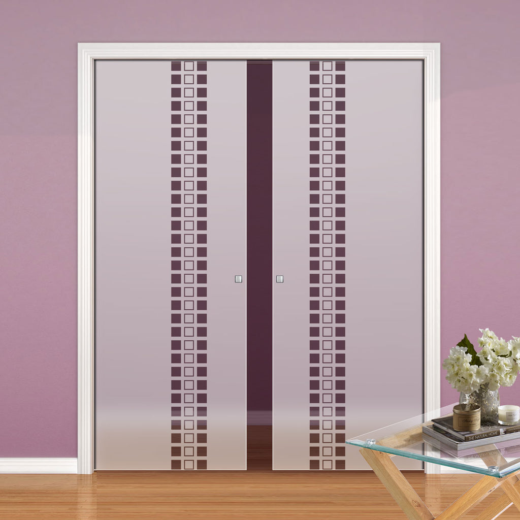 Winton 8mm Obscure Glass - Clear Printed Design - Double Evokit Pocket Door