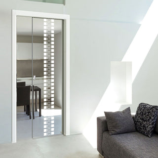 Image: Winton 8mm Clear Glass - Obscure Printed Design - Single Evokit Glass Pocket Door
