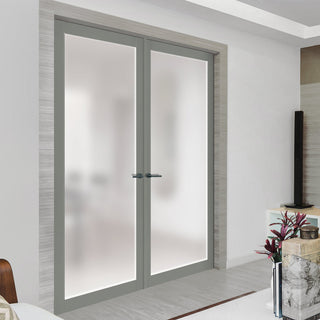 Image: Bespoke Industrial Style 1 Pane Door Pair WK6301SG - Frosted Glass - 80mm - 4 Prefinished Colour Choices
