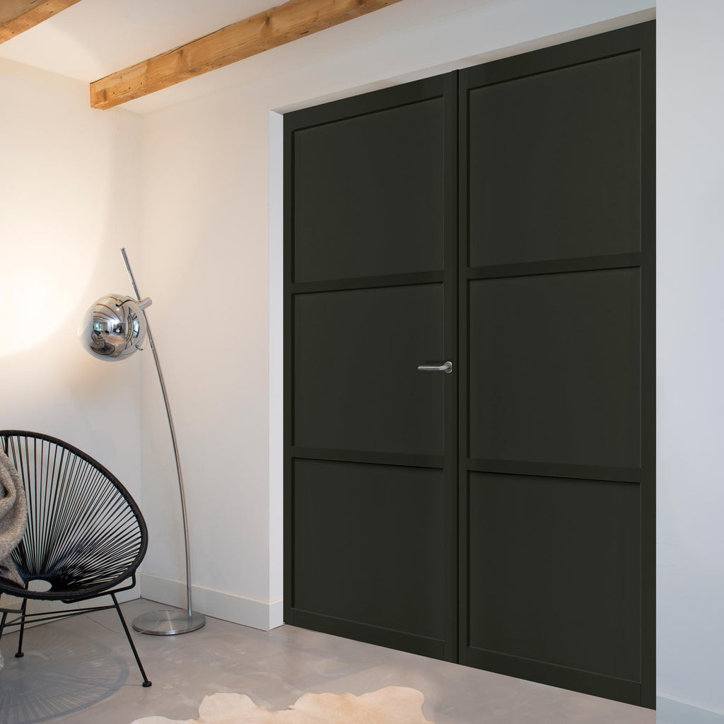 Bespoke Industrial Style 3 Panel Door Pair WK6305 - 80mm - 4 Prefinished Colour Choices