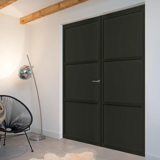 Image: Bespoke Industrial Style 3 Panel Door Pair WK6305 - 80mm - 4 Prefinished Colour Choices
