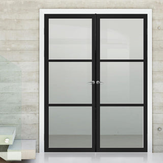 Image: Bespoke Industrial Style 3 Pane Door Pair WK6306 - Clear Glass - 80mm - 4 Prefinished Colour Choices