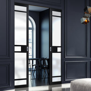 Image: Bespoke Double Frameless Pocket Door WK6312 - Frosted Glass - 2 Prefinished Colour Choices